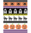 halloween pattern with cat spider ghost heart vector image vector image