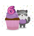 happy birthday card with cupcake and raccoon vector image