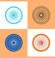 indian ashoka chakra icon set in flat and line vector image vector image