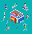 isometric sport club concept gym building vector image vector image