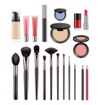 makeup items brushes for beauty womans eyeshadows vector image vector image