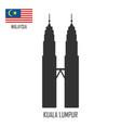 malaysia landmark petronas towers at kuala lumpur vector image