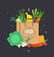 paper bag full natural vegetables and fruits vector image