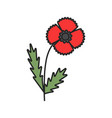 poppy flower color icon vector image
