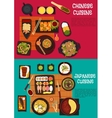 Popular dishes of japanese and chinese cuisine vector image vector image