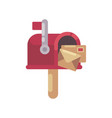 red mailbox with letters flat christmas mailbox vector image