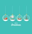 set merry christmas glass balls hanging vector image vector image