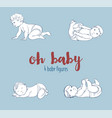 set of four cute baby vector image vector image