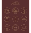 Set of milk simple icons vector image vector image