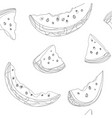 set slices watermelon black and vector image