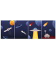 set space cards or posters with spaceship and vector image vector image