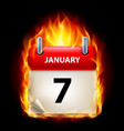 seventh january in calendar burning icon on black vector image vector image