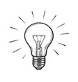 sketch glowing light bulb vector image