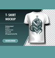 skull and snake around the sword t-shirt template vector image vector image