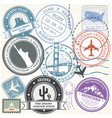 united states travel stamps set - usa journey vector image vector image