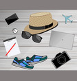 view of travelers accessories travel concept vector image vector image
