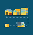 warehouse building with truck delivery service vector image vector image
