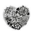 Hand-drawn doodling heart in tattoo style vector image
