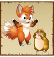 Playful Fox scared the hamster and it crying vector image