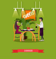 woman having dinner at vector image