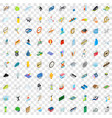 100 sport icons set isometric 3d style vector image vector image