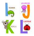 animal alphabet i j k and l vector image
