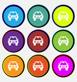 Auto icon sign Nine multi-colored round buttons vector image vector image