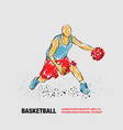 basketball player with ball outline vector image vector image