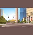 beautifil city street asphalt road with traffic vector image vector image