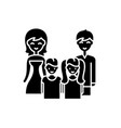 big family black icon sign on isolated vector image vector image