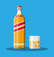 bottle bourbon whiskey and glass with ice vector image