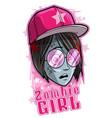 cartoon halloween girl zombie in pink sunglasses vector image