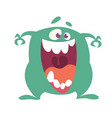 cartoon happy monster with big mouth laughing vector image