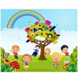 Cartoon little kid playing game in the jungle vector image vector image