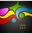 Colorful wavy pattern on black background vector image vector image