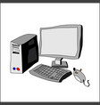 computer hand drawing system unit and keyboard vector image