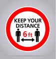 covid19 keep your distance 6 feet sign vector image vector image