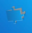 Cut out puzzle piece blue paper vector image vector image