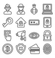 dark deep internet and security icons set line vector image vector image