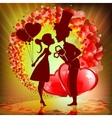 design with silhouette of lovers vector image vector image