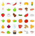 dietary food icons set cartoon style vector image vector image