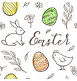easter pattern with chicken and rabbit vector image vector image