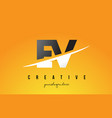 ev e v letter modern logo design with yellow vector image vector image