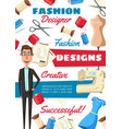 fashion designer tailor and sewing tools vector image vector image