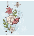 floral illustration with butterfly vector image