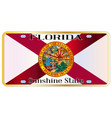 florida state flag license plate vector image vector image