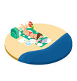 freelance work on the beach isometric concept vector image vector image