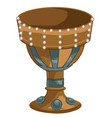 golden goblet with pears and gemstones old cup vector image