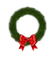 green christmas wreath with red ribbon bow vector image vector image