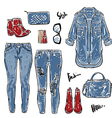 hand drawn fashion collection womens jeans vector image vector image